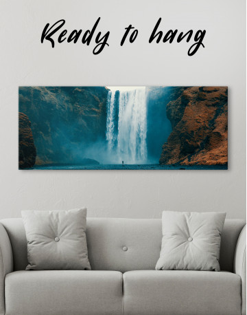 Panoramic Skogafoss Waterfall Canvas Wall Art - image 1