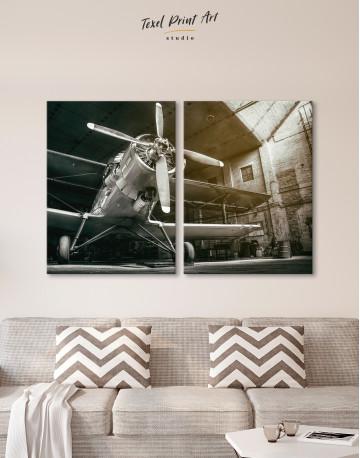 Silver Vintage Aircraft Canvas Wall Art - image 1