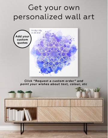 Purple and Blue Watercolor Mandala Canvas Wall Art - image 2