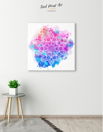 Purple and Blue Watercolor Mandala Canvas Wall Art