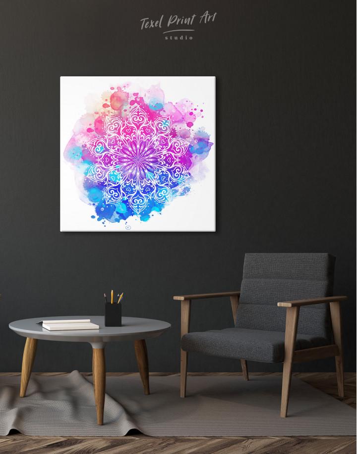 Purple and Blue Watercolor Mandala Canvas Wall Art - Image 5