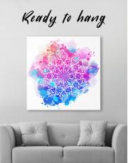 Purple and Blue Watercolor Mandala Canvas Wall Art - Image 1