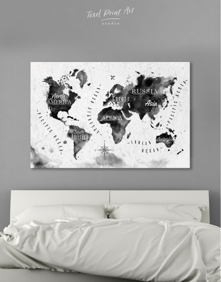 Black and White Watercolor World Map with Continents Canvas Wall Art