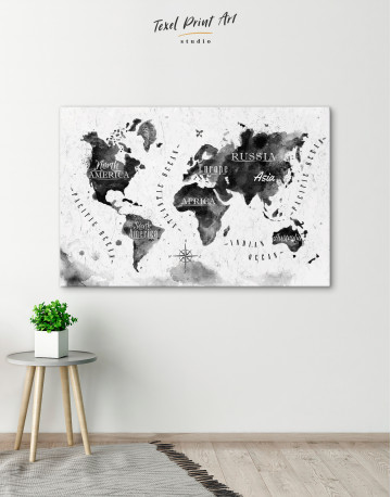 Black and White Watercolor World Map with Continents Canvas Wall Art - image 5