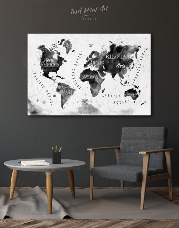 Black and White Watercolor World Map with Continents Canvas Wall Art - image 3