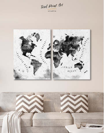 Black and White Watercolor World Map with Continents Canvas Wall Art - image 8