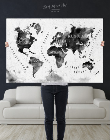 Black and White Watercolor World Map with Continents Canvas Wall Art - image 10