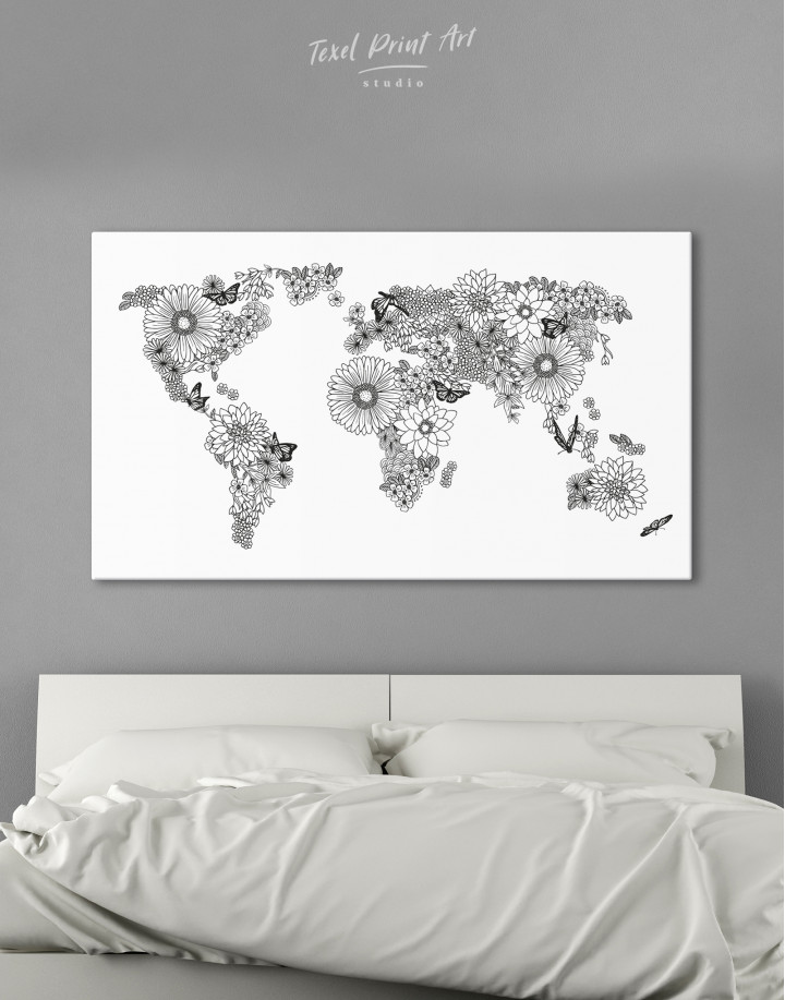 Floral World Map Black and White Canvas Wall Art