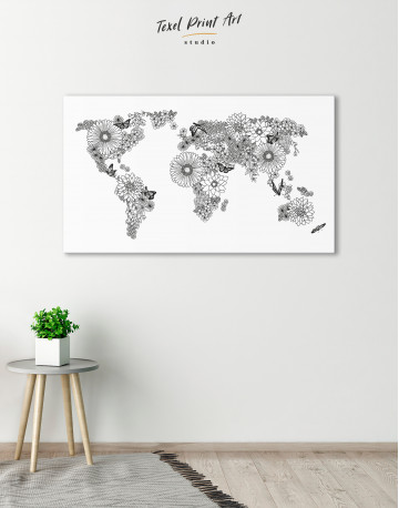 Floral World Map Black and White Canvas Wall Art - image 4