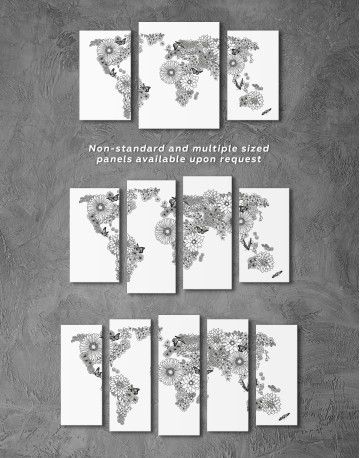 Floral World Map Black and White Canvas Wall Art - image 8