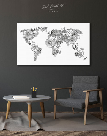Floral World Map Black and White Canvas Wall Art - image 9