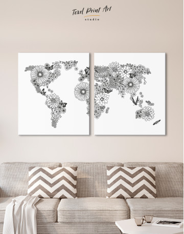 Floral World Map Black and White Canvas Wall Art - image 7