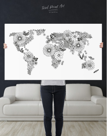 Floral World Map Black and White Canvas Wall Art - image 2