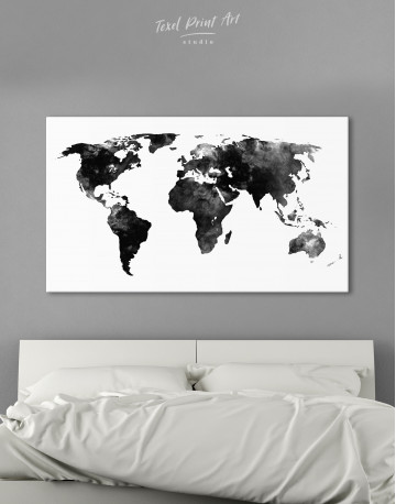 Black and White Watercolor World Map Canvas Wall Art