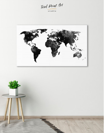 Black and White Watercolor World Map Canvas Wall Art - image 4