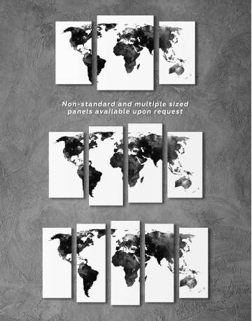 Black and White Watercolor World Map Canvas Wall Art - image 3