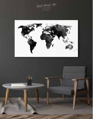 Black and White Watercolor World Map Canvas Wall Art - image 2