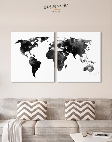 Black and White Watercolor World Map Canvas Wall Art - image 8