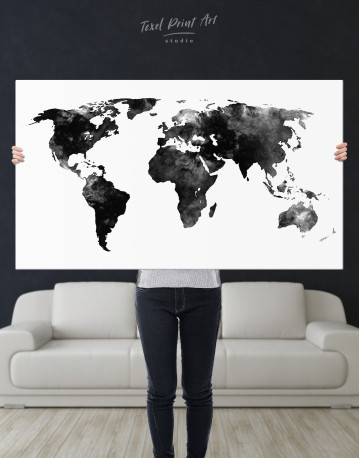 Black and White Watercolor World Map Canvas Wall Art - image 7
