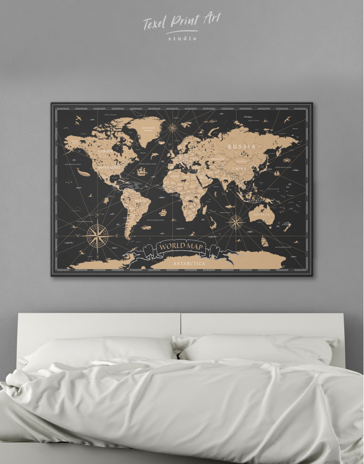 Black and Gold World Map Canvas Wall Art