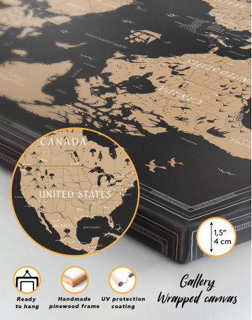 Black and Gold World Map Canvas Wall Art - image 3