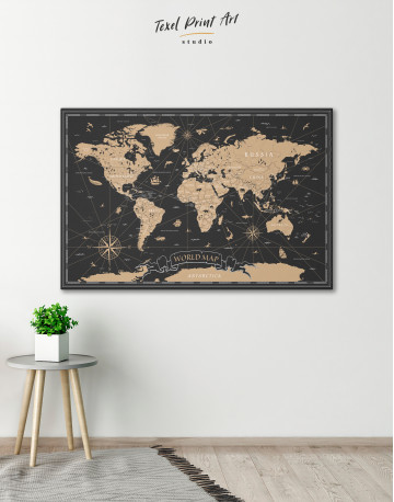 Black and Gold World Map Canvas Wall Art - image 2