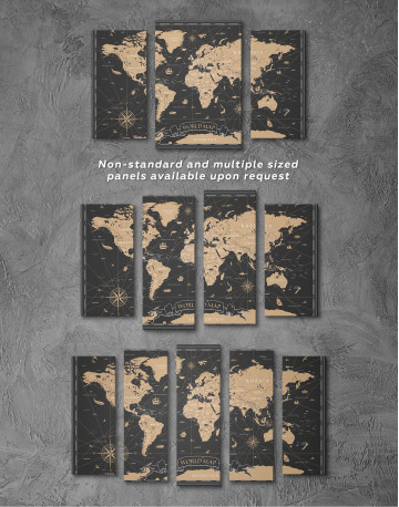 Black and Gold World Map Canvas Wall Art - image 6