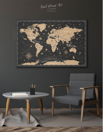 Black and Gold World Map Canvas Wall Art - image 4