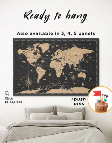 Black and Gold World Map Canvas Wall Art - image 5