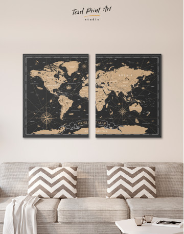 Black and Gold World Map Canvas Wall Art - image 7