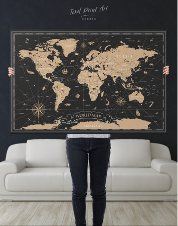 Black and Gold World Map Canvas Wall Art - image 1