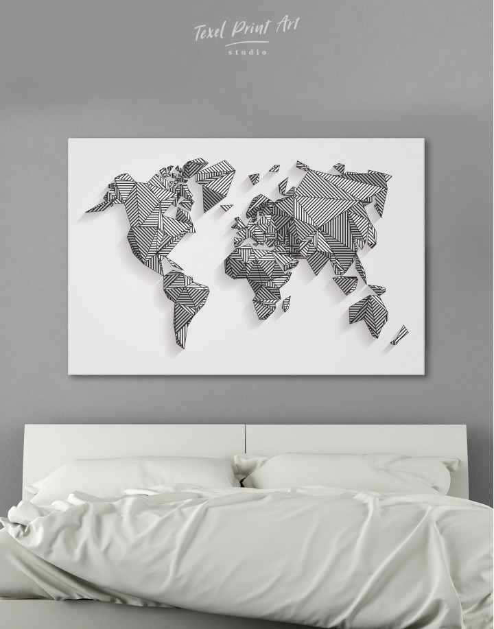 Abstract Geometric World Map Canvas Wall Art