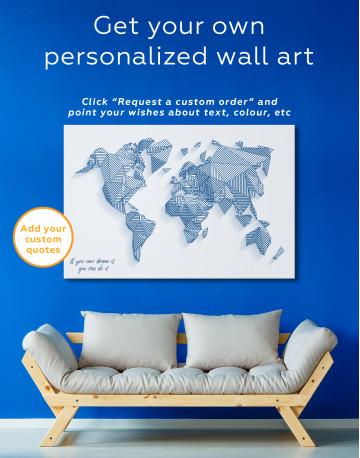 Abstract Geometric World Map Canvas Wall Art - image 3
