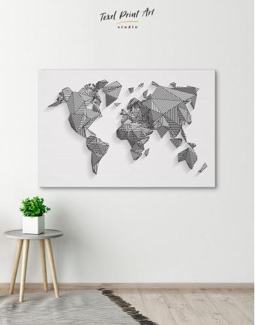 Abstract Geometric World Map Canvas Wall Art - image 4