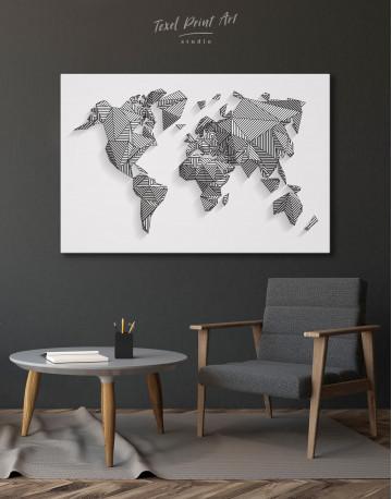 Abstract Geometric World Map Canvas Wall Art - image 6