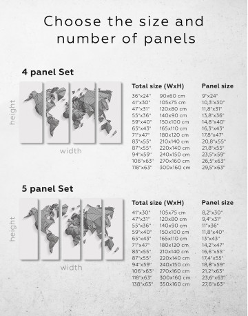 Abstract Geometric World Map Canvas Wall Art - image 9