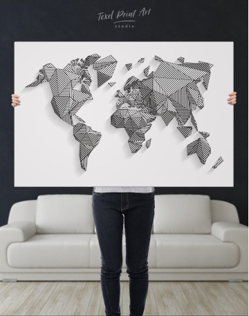 Abstract Geometric World Map Canvas Wall Art - image 10