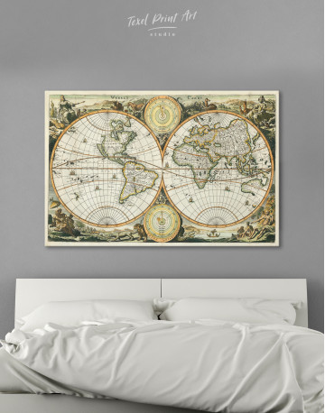 Ancient Double Hemisphere Map Canvas Wall Art