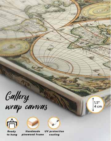 Ancient Double Hemisphere Map Canvas Wall Art - image 4