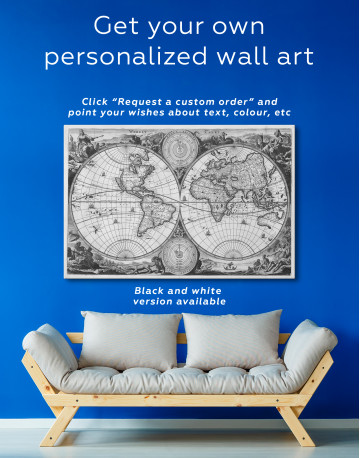 Ancient Double Hemisphere Map Canvas Wall Art - image 2
