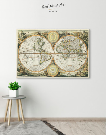 Ancient Double Hemisphere Map Canvas Wall Art - image 3