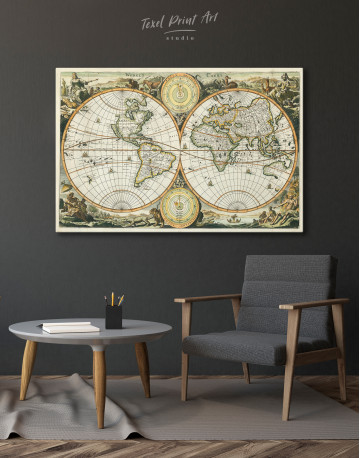 Ancient Double Hemisphere Map Canvas Wall Art - image 8