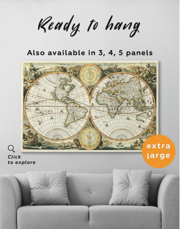 Ancient Double Hemisphere Map Canvas Wall Art - image 1