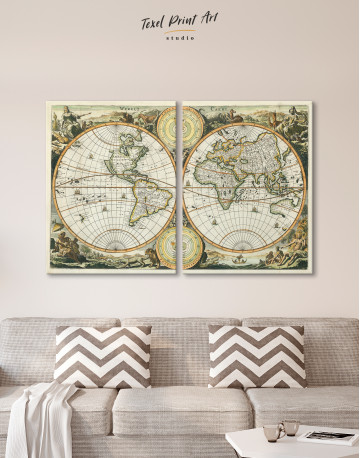 Ancient Double Hemisphere Map Canvas Wall Art - image 7