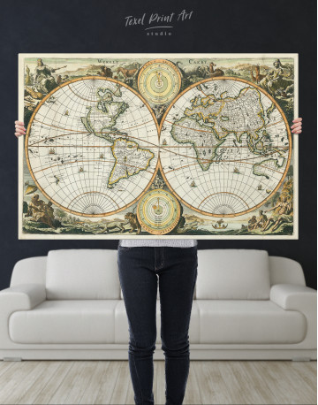 Ancient Double Hemisphere Map Canvas Wall Art - image 6