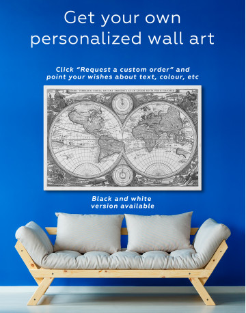 Ancient Hemisphere World Map Canvas Wall Art - image 2