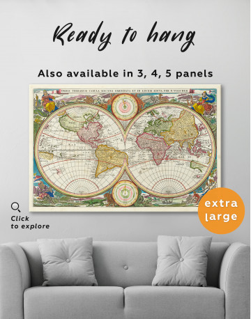 Ancient Hemisphere World Map Canvas Wall Art - image 1