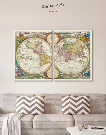 Ancient Hemisphere World Map Canvas Wall Art - image 7