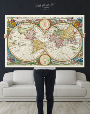 Ancient Hemisphere World Map Canvas Wall Art - image 6