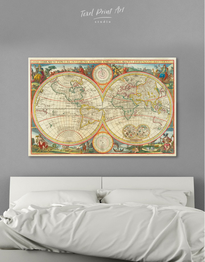Antique Hemisphere World Map Canvas Wall Art